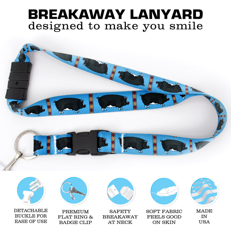 Buttonsmith Pig Breakaway Lanyard - with Buckle and Flat Ring - Based on Rebecca McGovern Art - Officially Licensed - Made in the USA - Buttonsmith Inc.