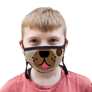Buttonsmith Cartoon Puppy Face Youth Adjustable Face Mask with Filter Pocket - Made in the USA