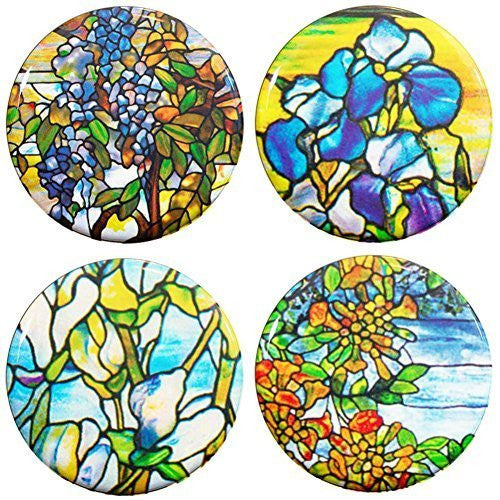 "Buttonsmith® 1.25"" Tiffany Magnolia Refrigerator Magnets - Set of 4 - Buttonsmith Inc."