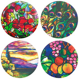 "Buttonsmith® 1.25"" Tiffany Refrigerator Magnets - Set of 4"