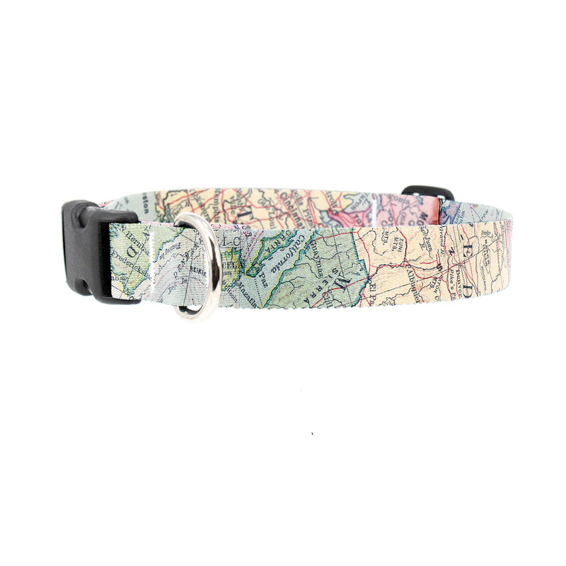 Buttonsmith Map Dog Collar - Made in the USA - Buttonsmith Inc.