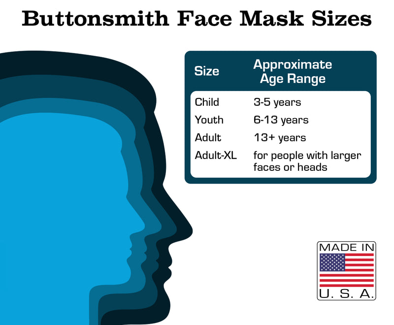 Buttonsmith Cartoon Elephant Face Youth Adjustable Face Mask with Filter Pocket - Made in the USA - Buttonsmith Inc.