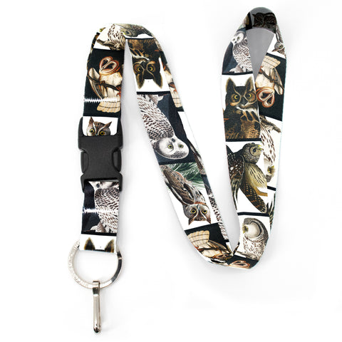 Buttonsmith Audubon Owls Premium Lanyard - with Buckle and Flat Ring - Made in the USA