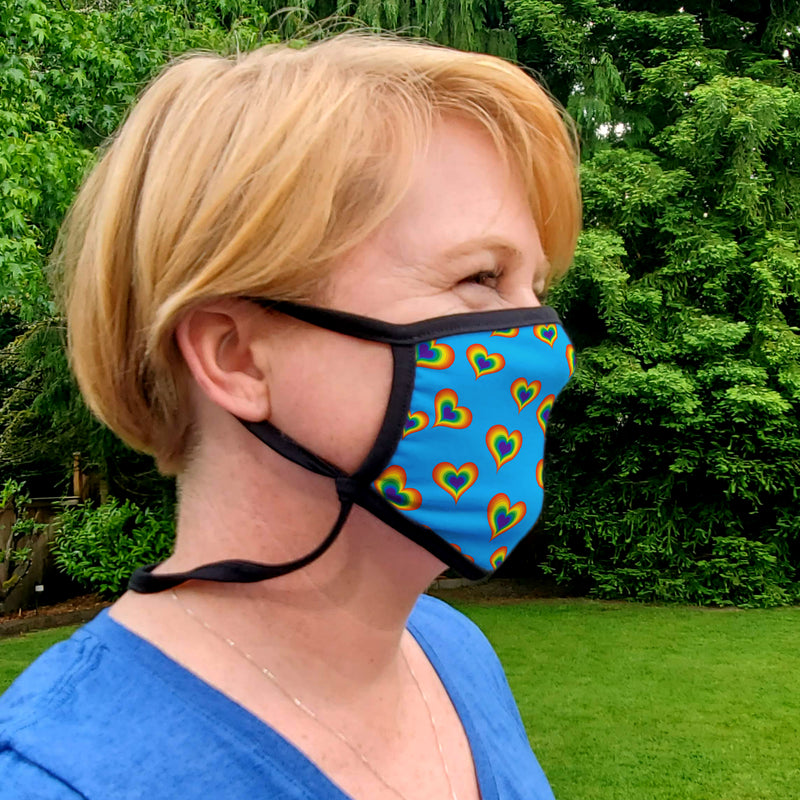 Buttonsmith Rainbow Love Adult XL Adjustable Face Mask with Filter Pocket - Made in the USA - Buttonsmith Inc.