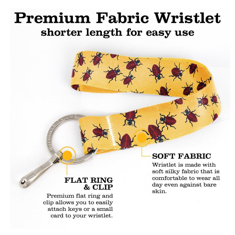 Buttonsmith Ladybugs Wristlet Key Chain Lanyard - Based on Rebecca McGovern Art - Officially Licensed - Made in the USA - Buttonsmith Inc.