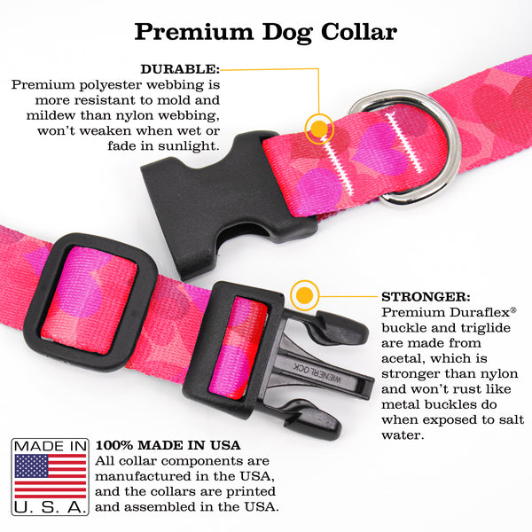 Buttonsmith Hearts Dog Collar - Made in the USA
