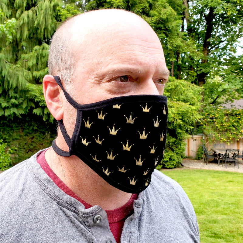 Buttonsmith Crowns Adult XL Adjustable Face Mask with Filter Pocket - Made in the USA - Buttonsmith Inc.