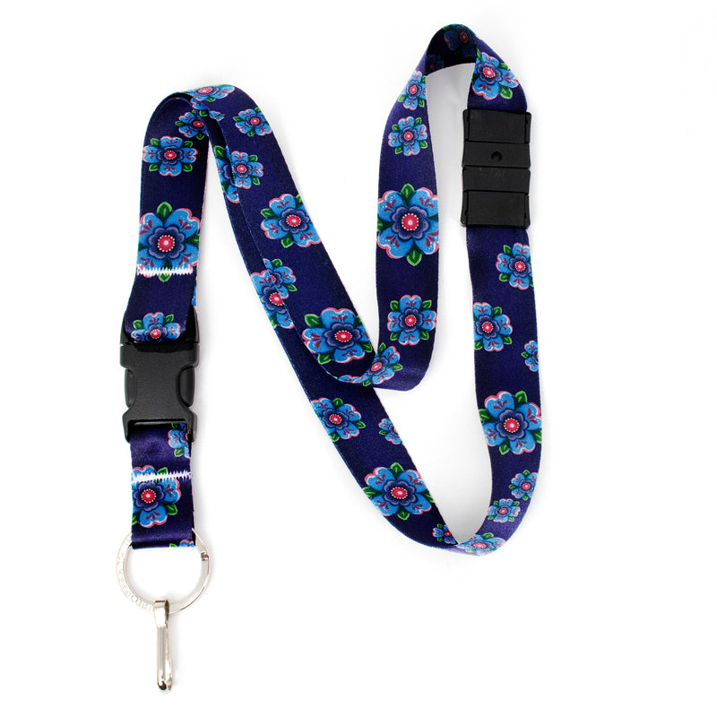 Buttonsmith Blue Rosemaling Breakaway Lanyard - with Buckle and Flat Ring - Based on Rebecca McGovern Art - Officially Licensed - Made in the USA - Buttonsmith Inc.