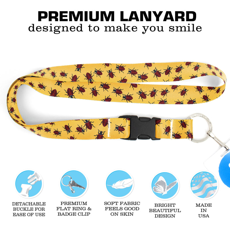 Buttonsmith Ladybugs Premium Lanyard - with Buckle and Flat Ring - Based on Rebecca McGovern Art - Officially Licensed - Made in the USA - Buttonsmith Inc.