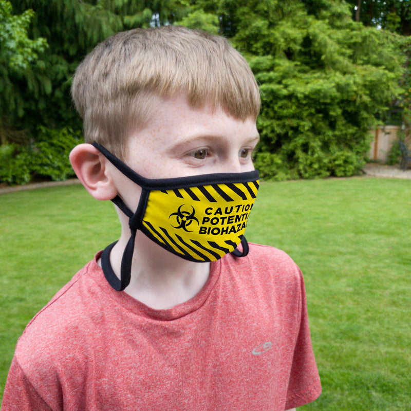 Buttonsmith Caution Tape Adult Adjustable Face Mask with Filter Pocket - Made in the USA - Buttonsmith Inc.