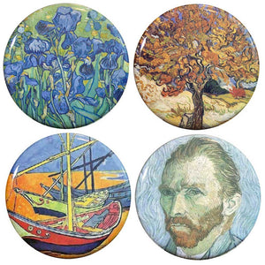 "Buttonsmith® 1.25"" Van Gogh Irises, Mulberry Tree, Sailboats and Self PortraitRefrigerator Magnets - Set of 4"