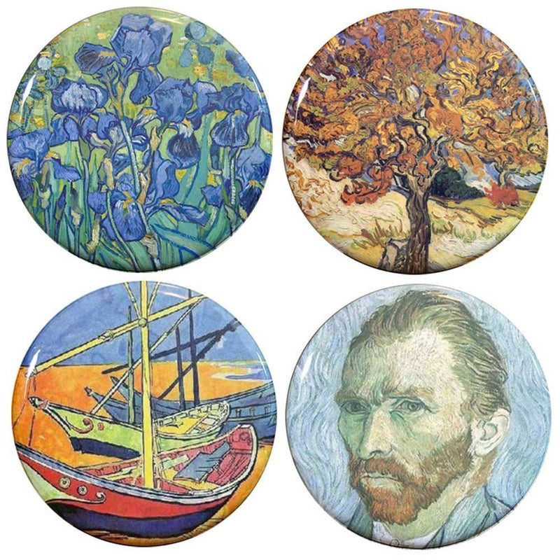 "Buttonsmith® 1.25"" Van Gogh Irises, Mulberry Tree, Sailboats and Self PortraitRefrigerator Magnets - Set of 4 - Buttonsmith Inc."