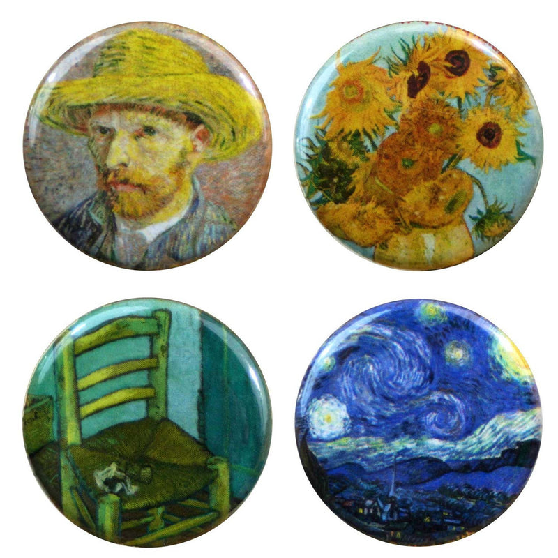"Buttonsmith® 1.25"" Van Gogh Starry Night, Sunflowers, Chair and Straw Hat Refrigerator Magnets - Set of 4 - Buttonsmith Inc."