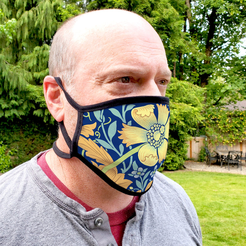 Buttonsmith William Morris Compton Blue Youth Adjustable Face Mask with Filter Pocket - Made in the USA - Buttonsmith Inc.