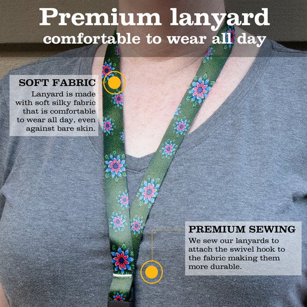 Buttonsmith Pink Rosemaling Breakaway Lanyard - with Buckle and Flat Ring - Based on Rebecca McGovern Art - Officially Licensed - Made in the USA