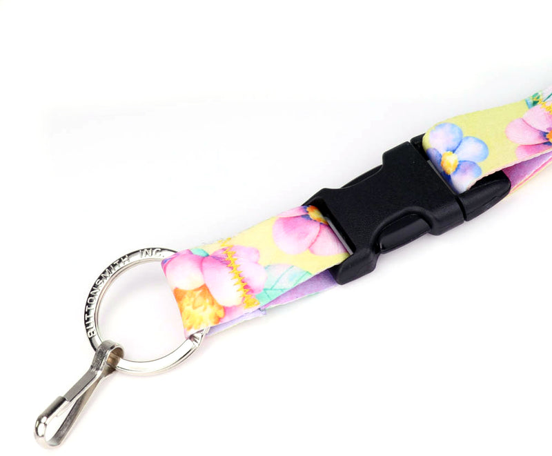 Buttonsmith Watercolor Flowers Lanyard - Made in USA - Buttonsmith Inc.