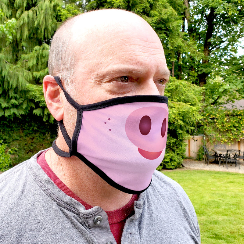 Buttonsmith Cartoon Piglet Face Adult Adjustable Face Mask with Filter Pocket - Made in the USA - Buttonsmith Inc.