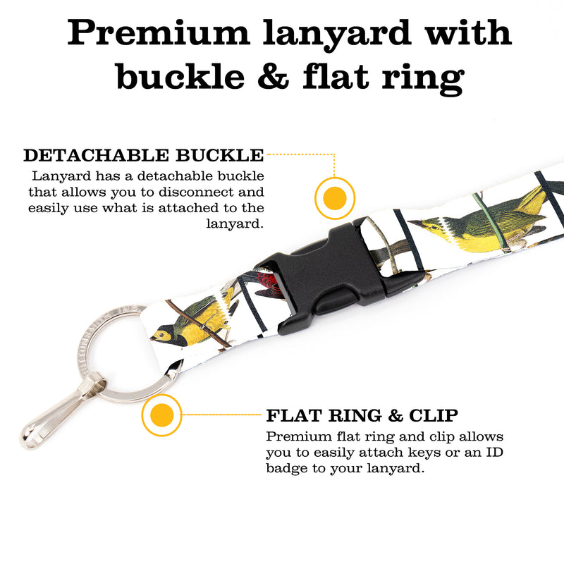 Buttonsmith Audubon Songbirds Premium Lanyard - with Buckle and Flat Ring - Made in the USA - Buttonsmith Inc.