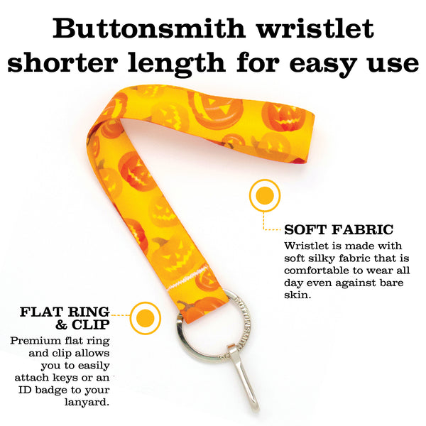 Buttonsmith Jack-O-Lantern Halloween Wristlet - Made in USA
