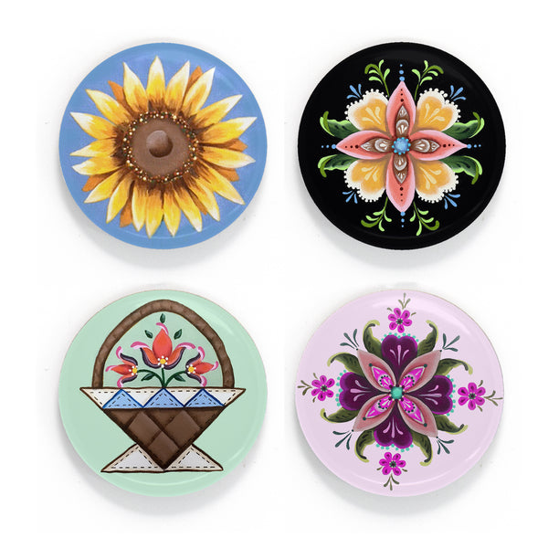 Buttonsmith McGovern Flowers Magnet Set - Based on the artwork of Rebecca McGovern - Made in the USA