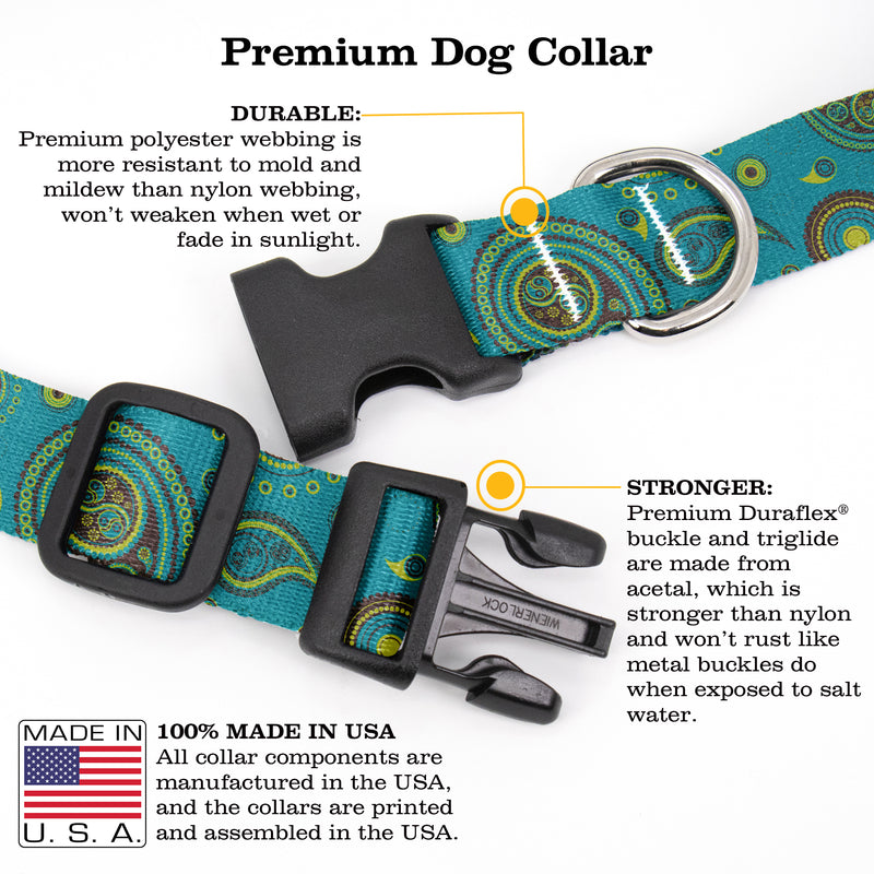 Buttonsmith Paisley Dog Collar - Made in the USA - Buttonsmith Inc.