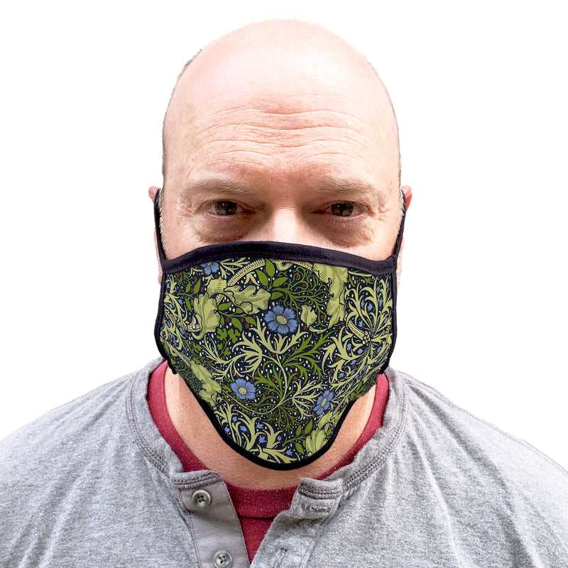Buttonsmith William Morris Seaweed Adult XL Adjustable Face Mask with Filter Pocket - Made in the USA - Buttonsmith Inc.