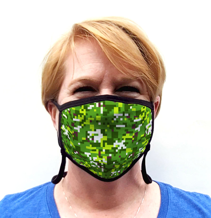 Buttonsmith PixelLand Camo Adult Adjustable Face Mask with Filter Pocket - Made in the USA - Buttonsmith Inc.