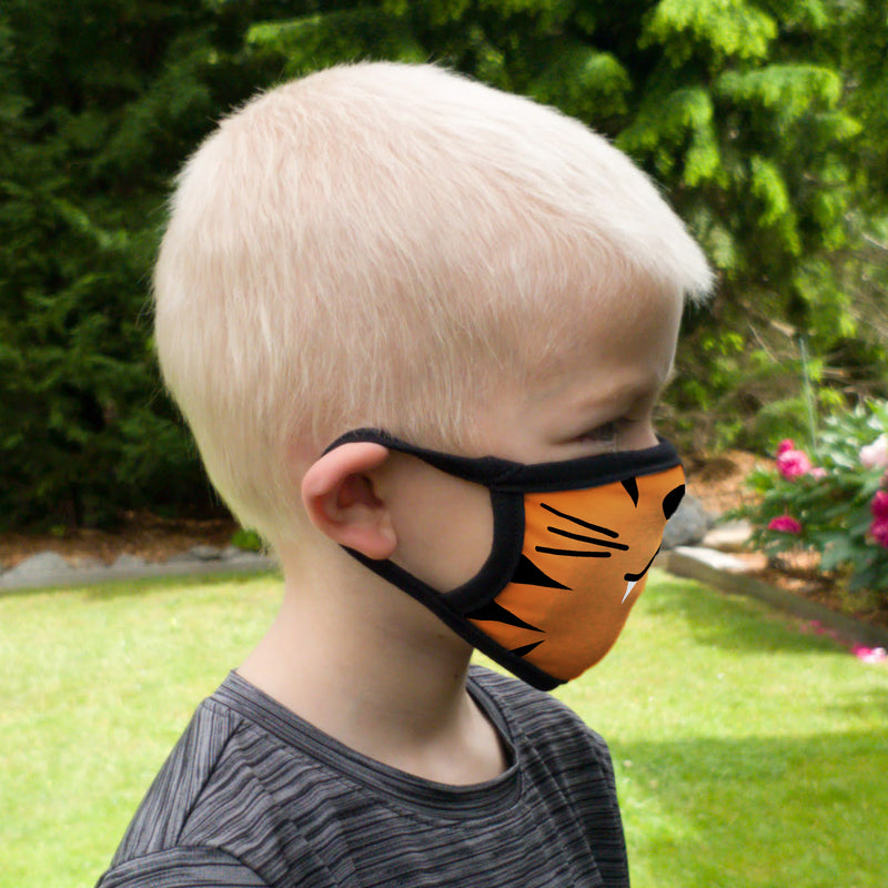 Buttonsmith Cartoon Tiger Face Youth Adjustable Face Mask with Filter Pocket - Made in the USA - Buttonsmith Inc.