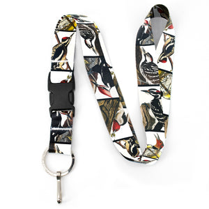 Buttonsmith Audubon Woodpeckers Premium Lanyard - with Buckle and Flat Ring - Made in the USA