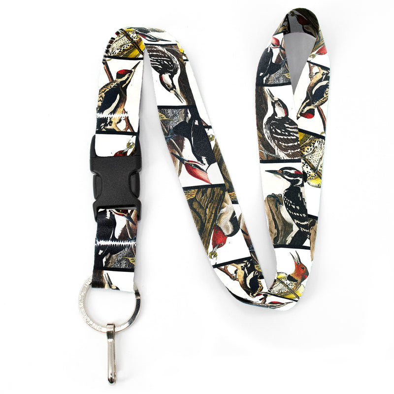 Buttonsmith Audubon Woodpeckers Premium Lanyard - with Buckle and Flat Ring - Made in the USA - Buttonsmith Inc.
