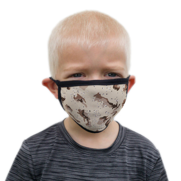 Buttonsmith Desert Camo Child Face Mask with Filter Pocket - Made in the USA