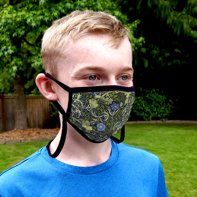 Buttonsmith William Morris Seaweed Adult Adjustable Face Mask with Filter Pocket - Made in the USA - Buttonsmith Inc.