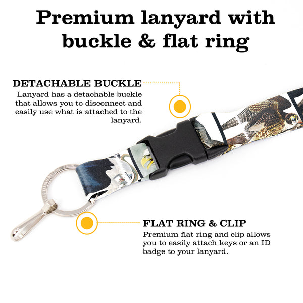 Buttonsmith Audubon Raptors Premium Lanyard - with Buckle and Flat Ring - Made in the USA