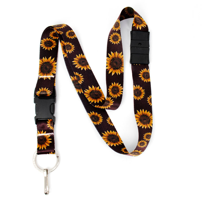 Buttonsmith Sunflower Breakaway Lanyard - with Buckle and Flat Ring - Based on Rebecca McGovern Art - Officially Licensed - Made in the USA - Buttonsmith Inc.