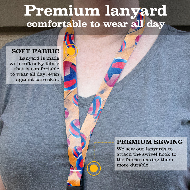 Buttonsmith Volleyball Premium Lanyard - with Buckle and Flat Ring - Made in the USA - Buttonsmith Inc.