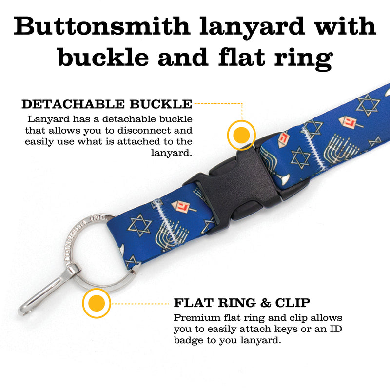 Buttonsmith Hanukkah Premium Lanyard - with Buckle and Flat Ring - Made in the USA - Buttonsmith Inc.