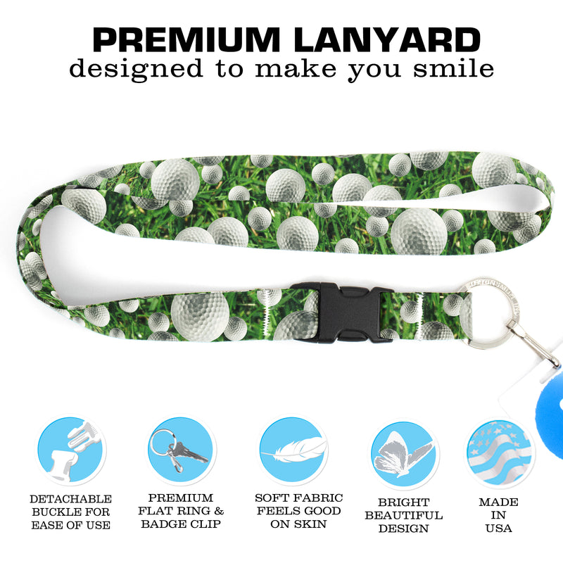 Buttonsmith Golf Premium Lanyard - with Buckle and Flat Ring - Made in the USA - Buttonsmith Inc.