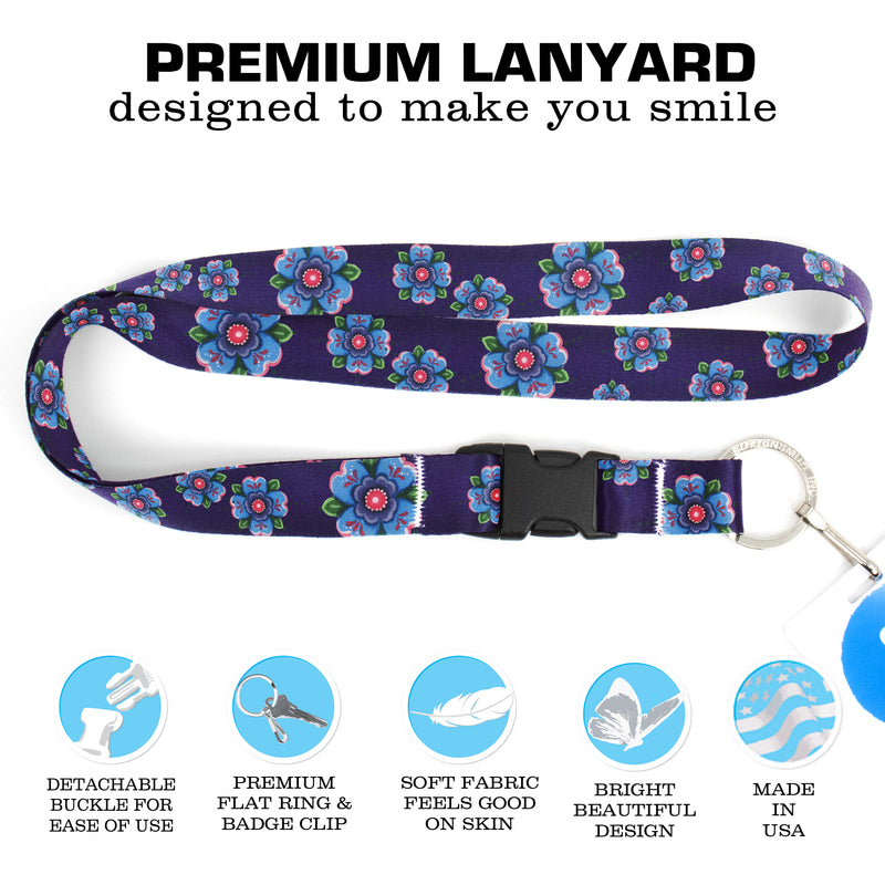 Buttonsmith Blue Rosemaling Premium Lanyard - with Buckle and Flat Ring - Based on Rebecca McGovern Art - Officially Licensed - Made in the USA - Buttonsmith Inc.