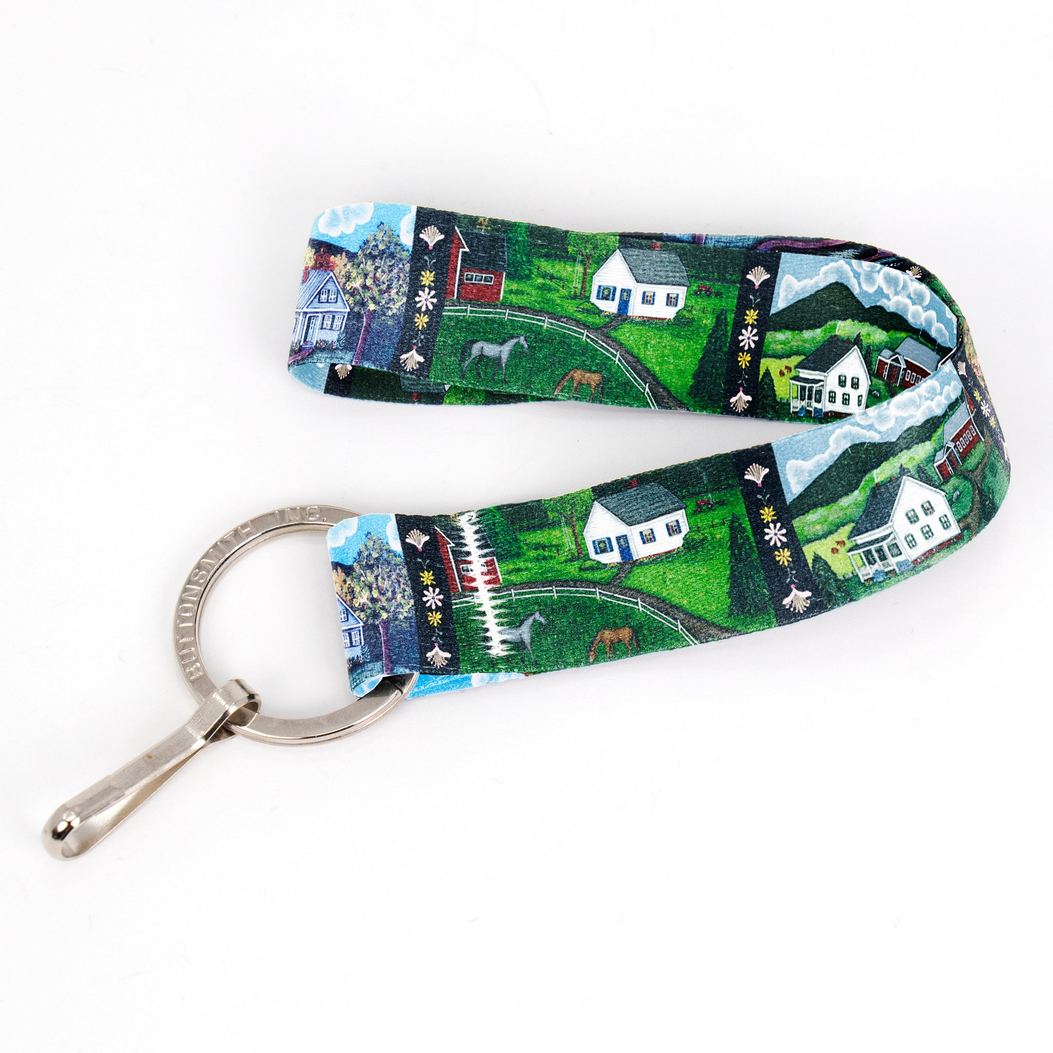 Buttonsmith Farm Houses Wristlet Key Chain Lanyard - Short Length with Flat Key Ring and Clip - Based on Rebecca McGovern Art - Officially Licensed - Made in the USA