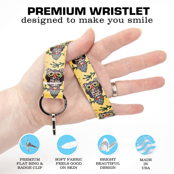 Buttonsmith Owl Wristlet Key Chain Lanyard - Short Length with Flat Key Ring and Clip - Based on Rebecca McGovern Art - Officially Licensed - Made in the USA
