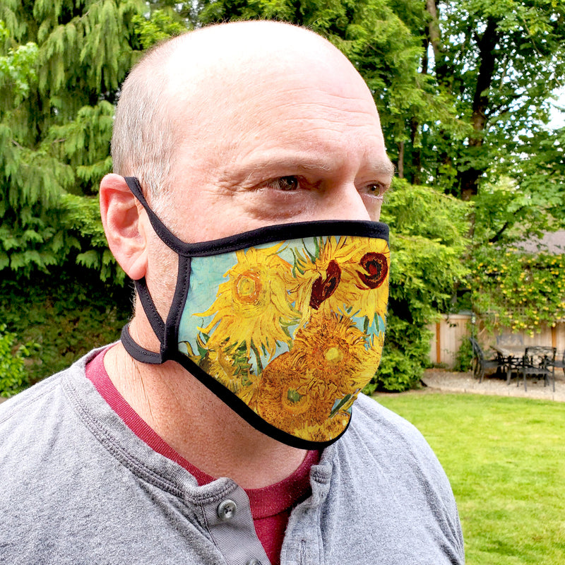 Buttonsmith Van Gogh Sunflowers Adult Adjustable Face Mask with Filter Pocket - Made in the USA - Buttonsmith Inc.