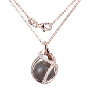 Rose Gold Grey Agate Bubble Necklace - Tricia's Gems
