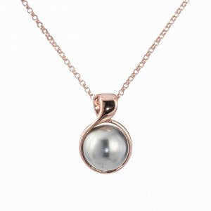 Rose Gold Grey Shell Pearl Necklace - Tricia's Gems