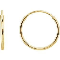 14K Yellow Gold 10mm Endless Hoop Earrings - Tricia's Gems