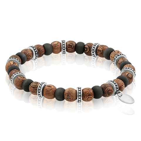 CARBON FIBER WOOD BEAD BRACELET