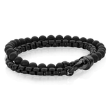 BLACK ONYX STAINLESS WRAP BRACELET