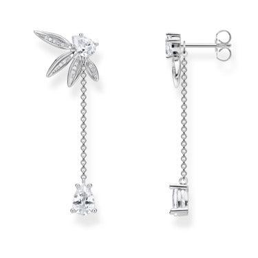Earrings Leaves With Chain Large Silver | Thomas Sabo - Tricia's Gems