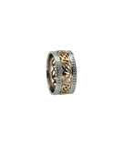 "Celtic Knot with Plan Rails and Beaded Rails, ""Lednock"" Ring, 10k Gold"