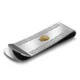 ITALGEM STEELS.STEEL 18K-GOLD LION-HEAD GREEK-KEY MONEYCLIP