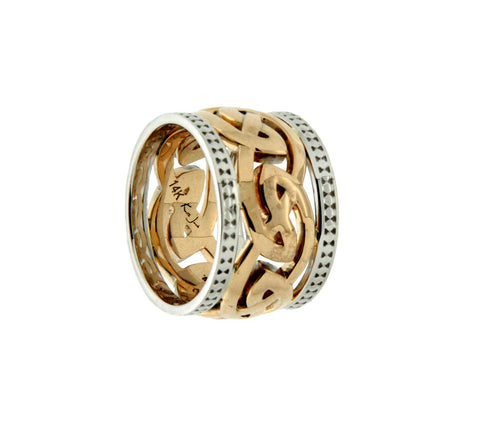 "Eternity X-Wide with Beaded Rails, ""Morar"" Ring, 10k Gold"